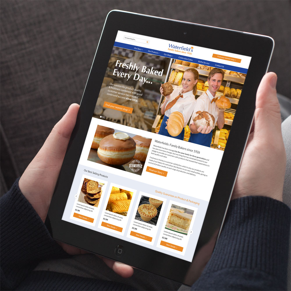Website design for Waterfields Bakery